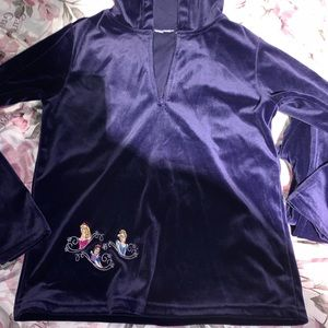 Disney princess embroidered purple velvet set